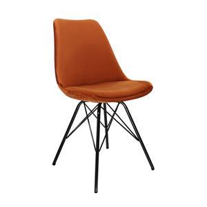Kick kuipstoel Velvet Oranje - Zwart frame
