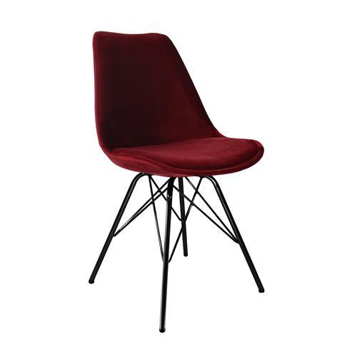 Kick kuipstoel Velvet Rood - Zwart frame