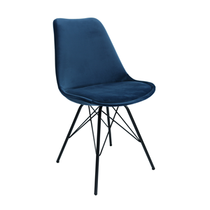 Kick kuipstoel Velvet Blauw - Zwart frame